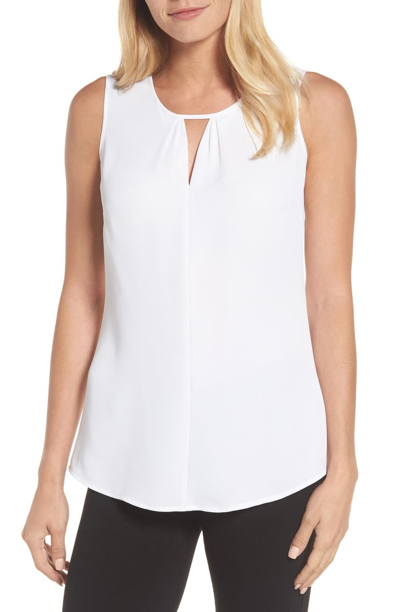 NIC+ZOE Easy Keyhole Tank Top, Main, color, PAPER WHITE