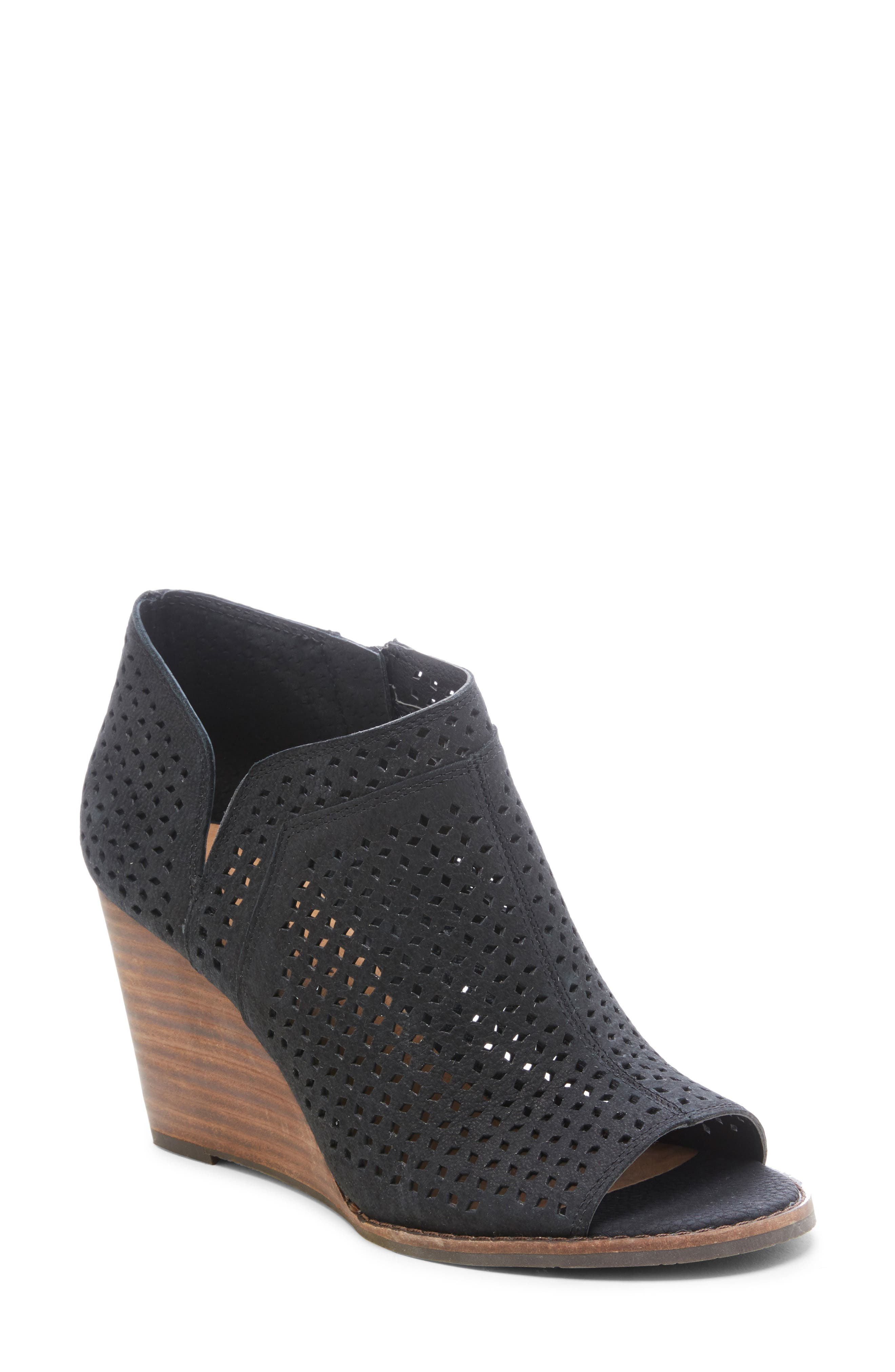 ,                             Jazley Wedge Bootie,                             Main thumbnail 1, color,                             BLACK NUBUCK LEATHER