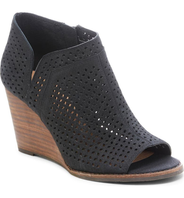 LUCKY BRAND Jazley Wedge Bootie, Main, color, BLACK NUBUCK LEATHER