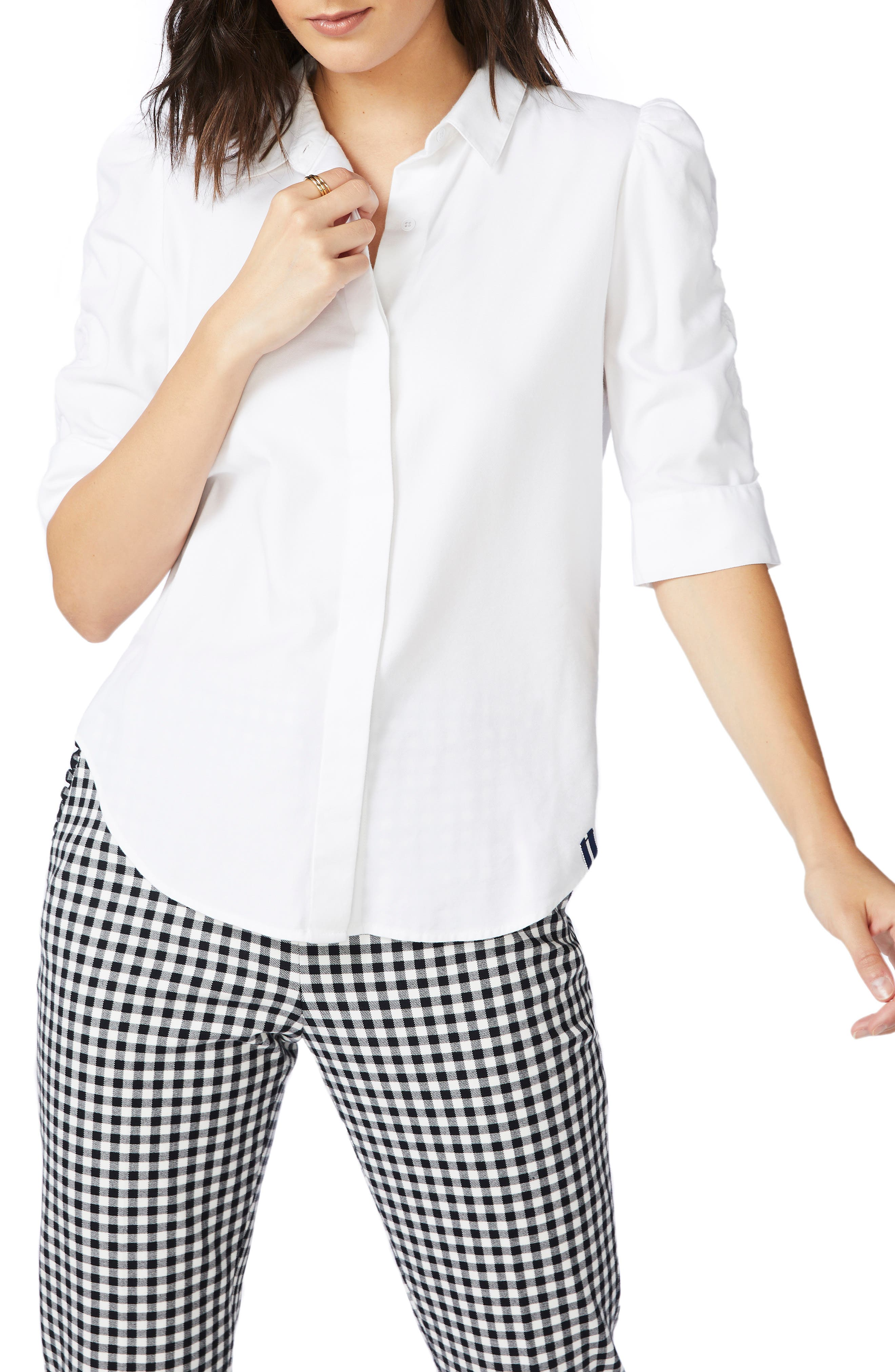 Ruched Sleeve Button Front Shirt