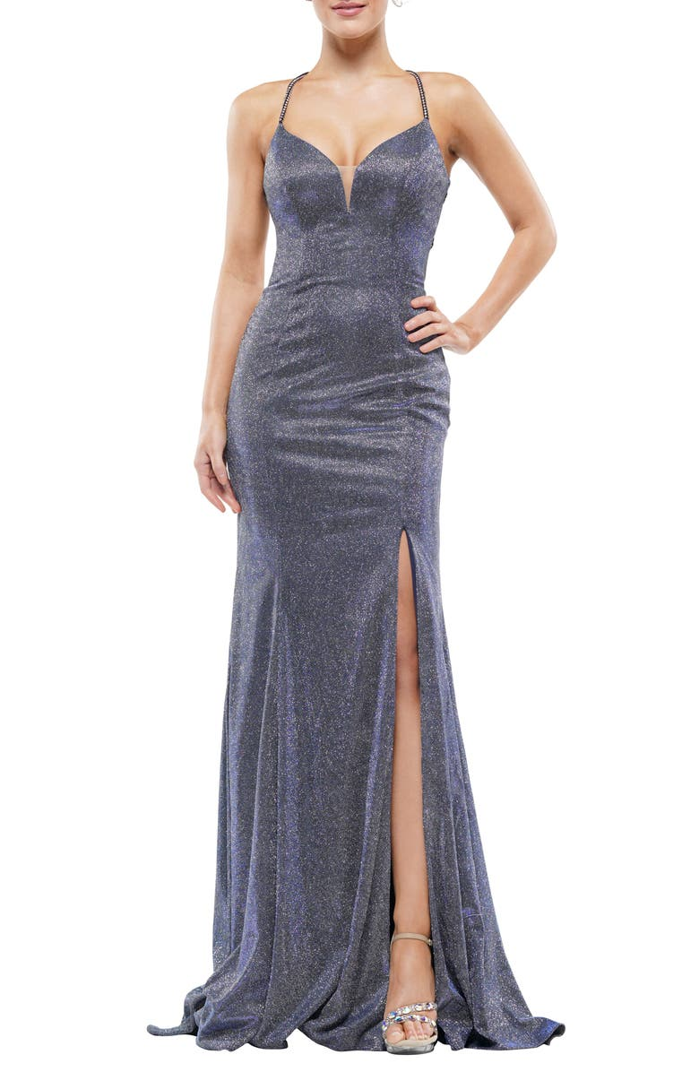 COLORS DRESS Glitter Mermaid Gown, Main, color, ROYAL