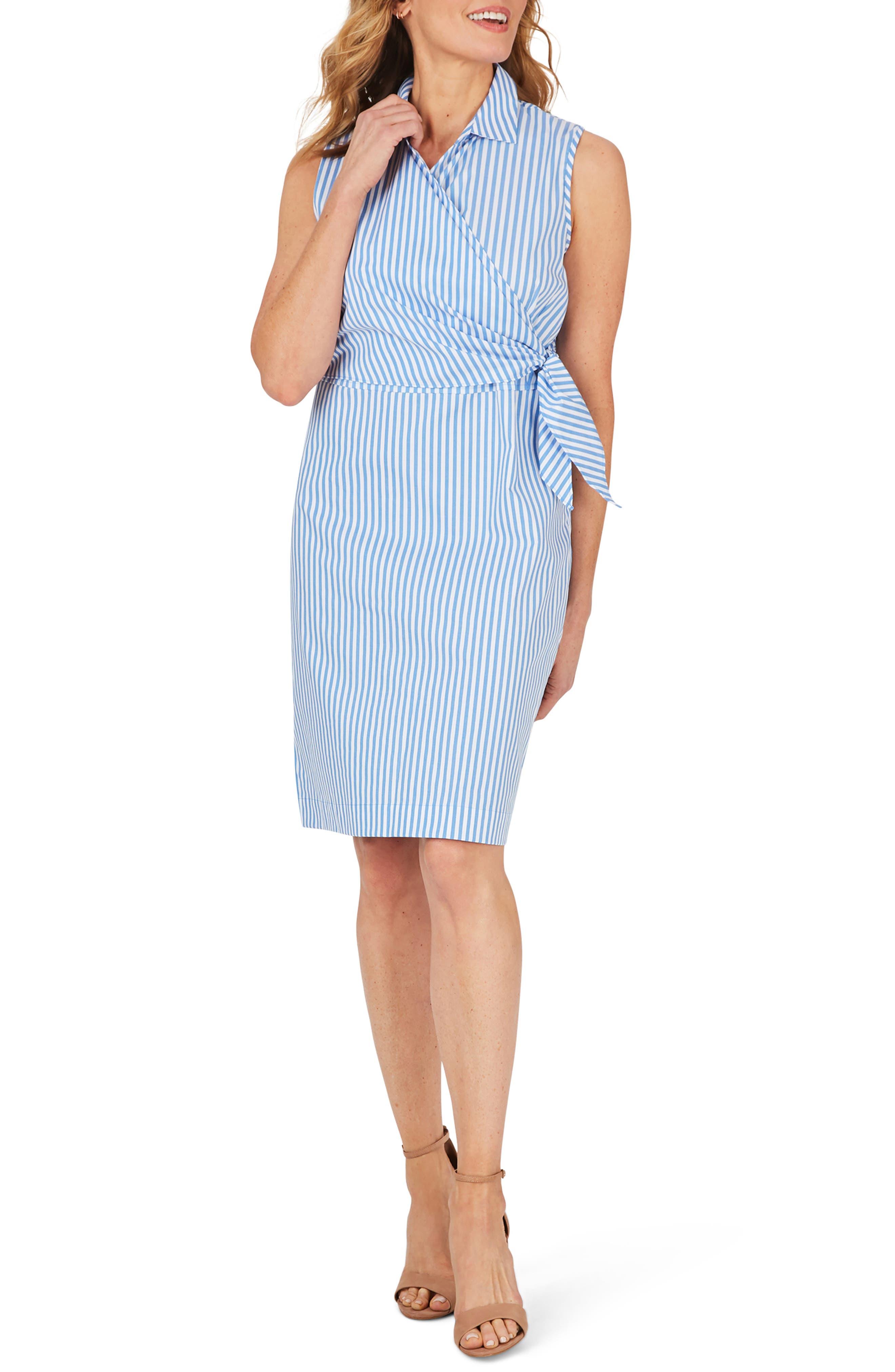 Capri Twill Stripe Faux Wrap Dress