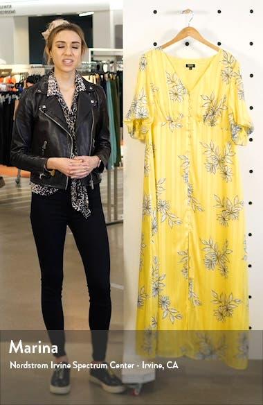 Floral & Metallic Stripe Button Front Maxi Dress, sales video thumbnail