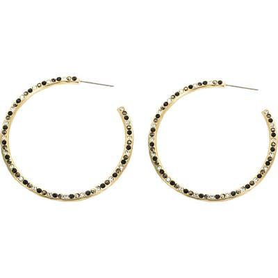 Panacea Black & White Crystal Pave Hoop Earrings
