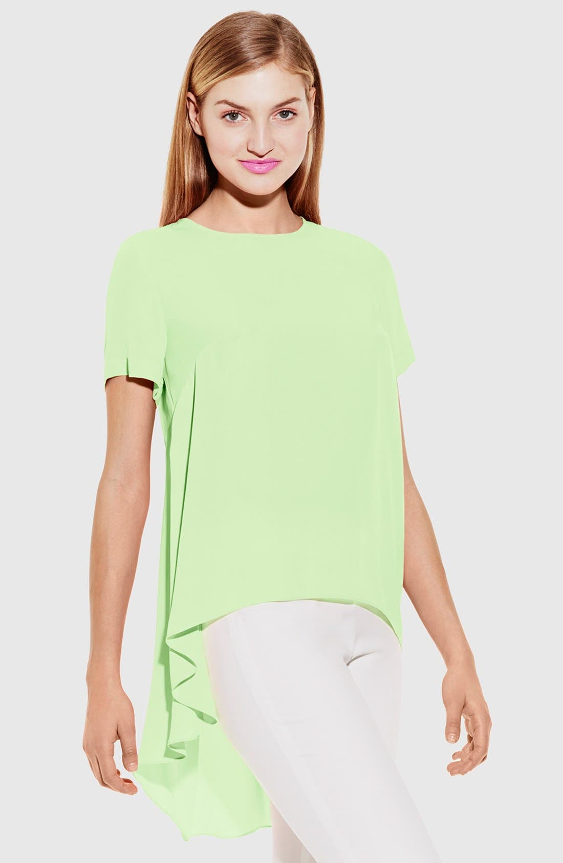 ,                             Short Sleeve Georgette High/Low Blouse,                             Main thumbnail 1, color,                             371