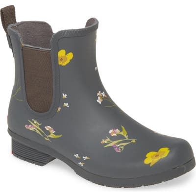 Chooka Flower Press Waterproof Chelsea Rain Boot, Blue