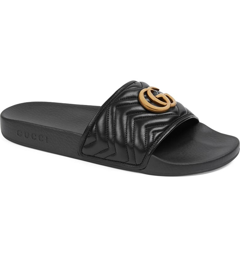 GUCCI Quilted Slide Sandal, Main, color, NERO