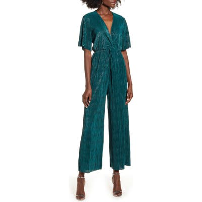 All In Favor Metallic Plisse Jumpsuit, Green