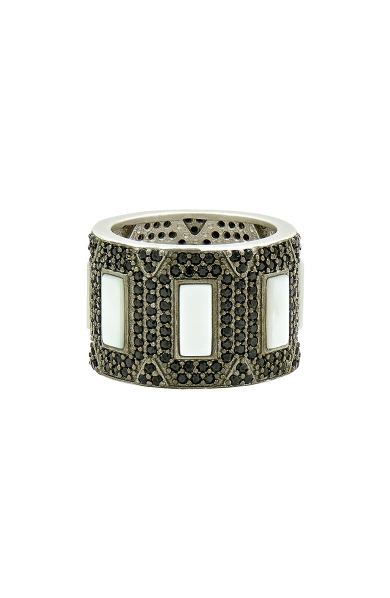 FREIDA ROTHMAN Industrial Edge Cigar Band, Main, color, SILVER/ BLACK