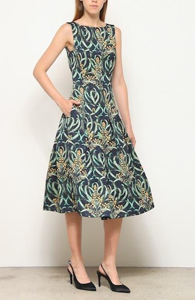 Mimosa Stems Cloqué Fit & Flare Dress, video thumbnail
