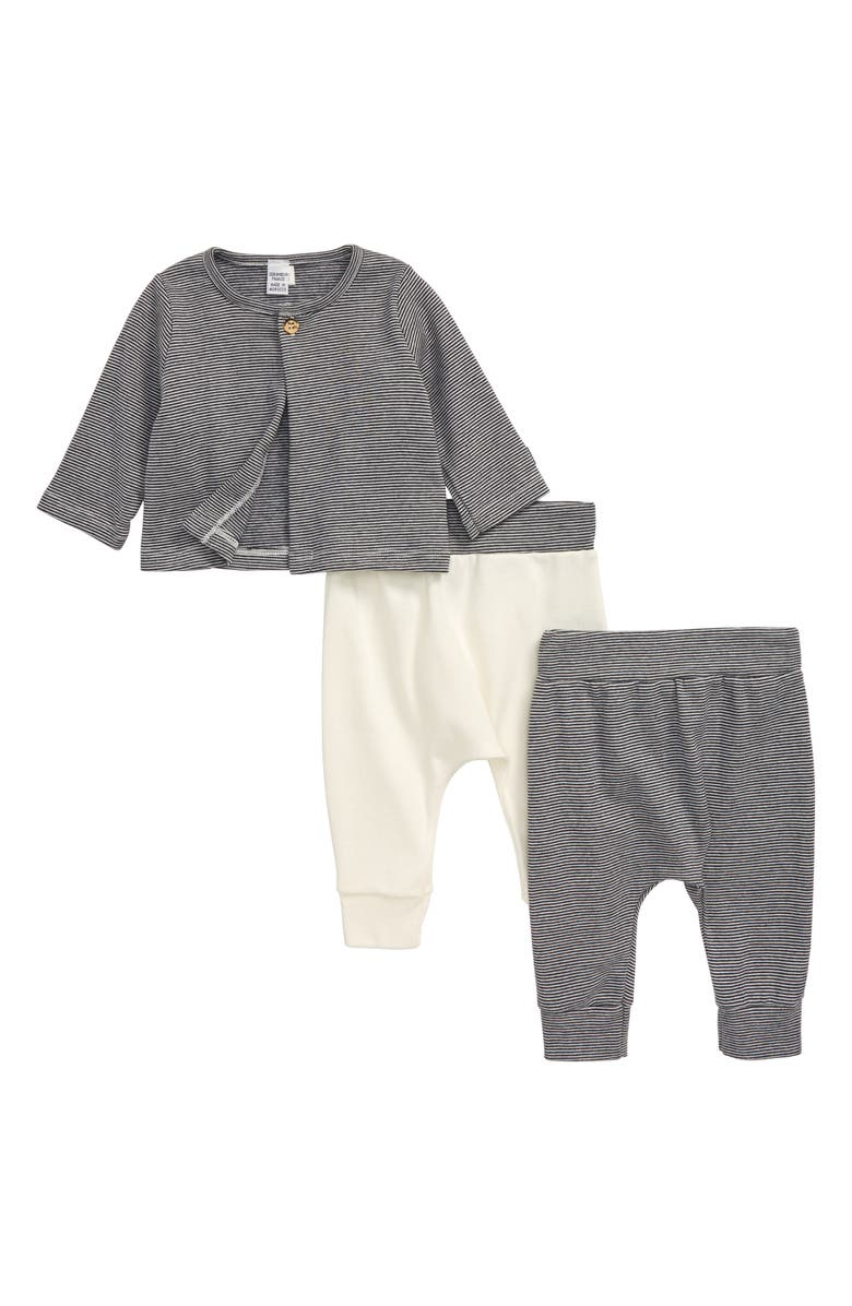 PETIT BATEAU Cardigan & Pants Set, Main, color, WHITE/ NAVY