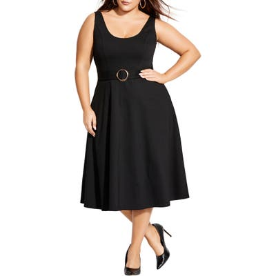 Plus Size City Chic Fit & Flare Dress, Black