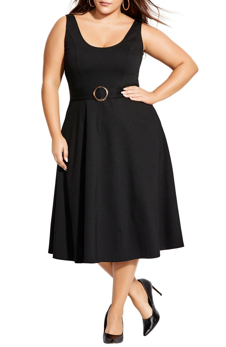 CITY CHIC Fit & Flare Dress, Main, color, BLACK