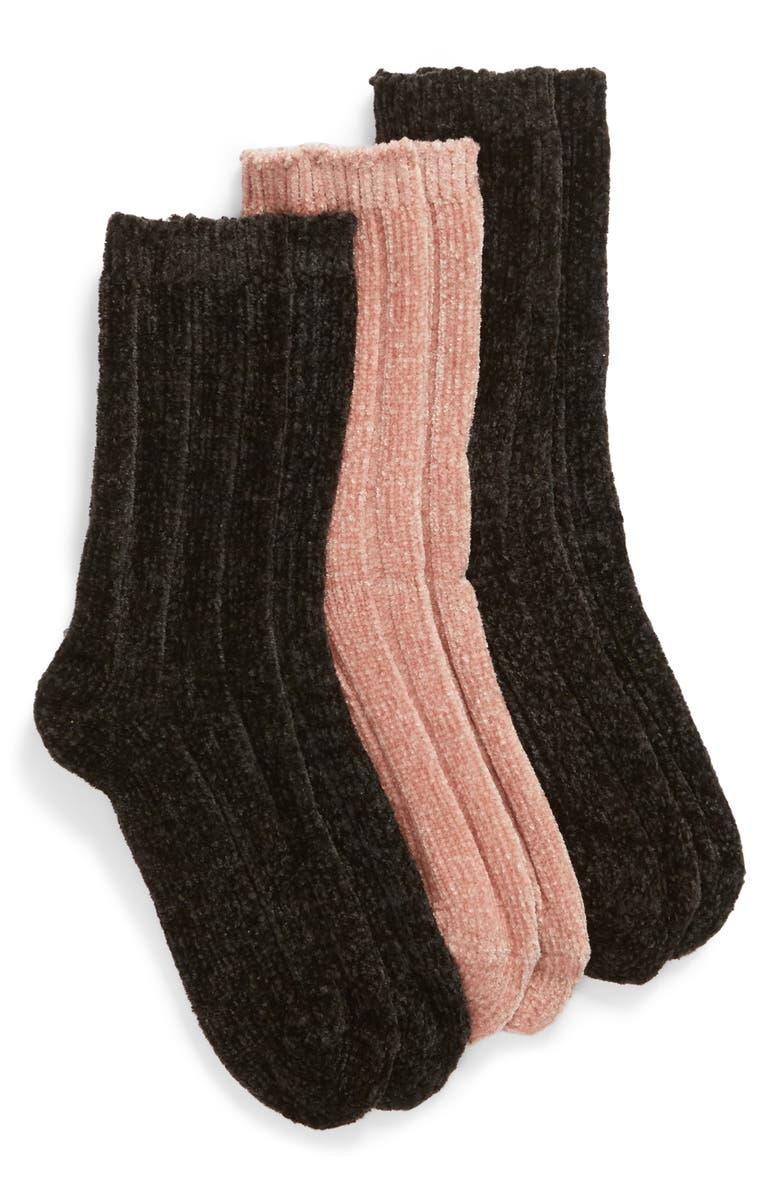 HUE 3-Pack Rib Chenille Crew Socks, Main, color, ASST