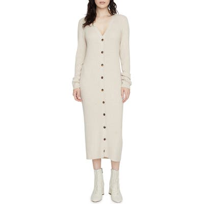 Sanctuary Sandy Button-Up Long Sleeve Midi Sweater Dress, Ivory