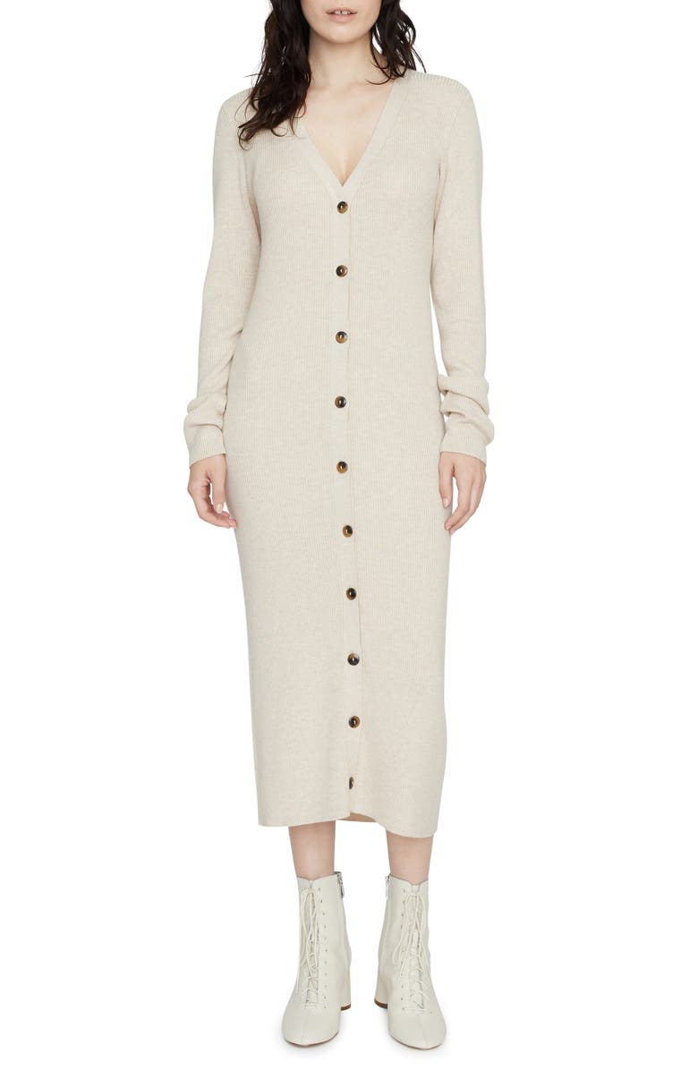 SANCTUARY Sandy Button-Up Long Sleeve Midi Sweater Dress, Main, color, HEATHER STONE