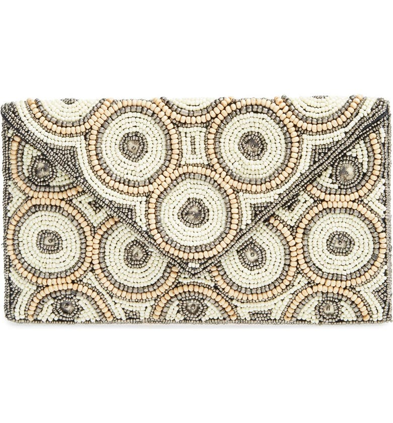 ZZDNU NATASHA COUTURE Natasha Couture Beaded Clutch, Main, color, 100