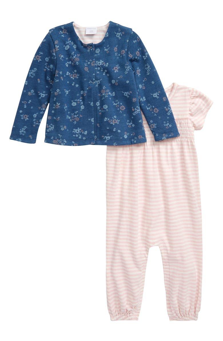 NORDSTROM BABY Reversible Jacket & Stripe Romper Set, Main, color, 680