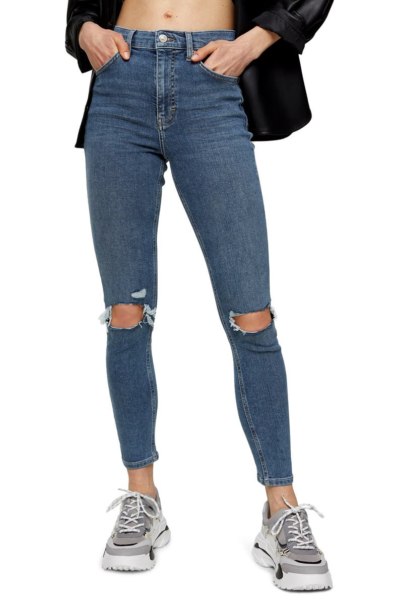 TOPSHOP Jamie Ripped High Waist Crop Skinny Jeans, Main, color, BLUE/GREEN