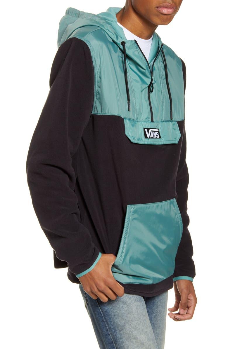 VANS Windward Hooded Fleece & Nylon Anorak, Main, color, BLACK/OIL BLUE