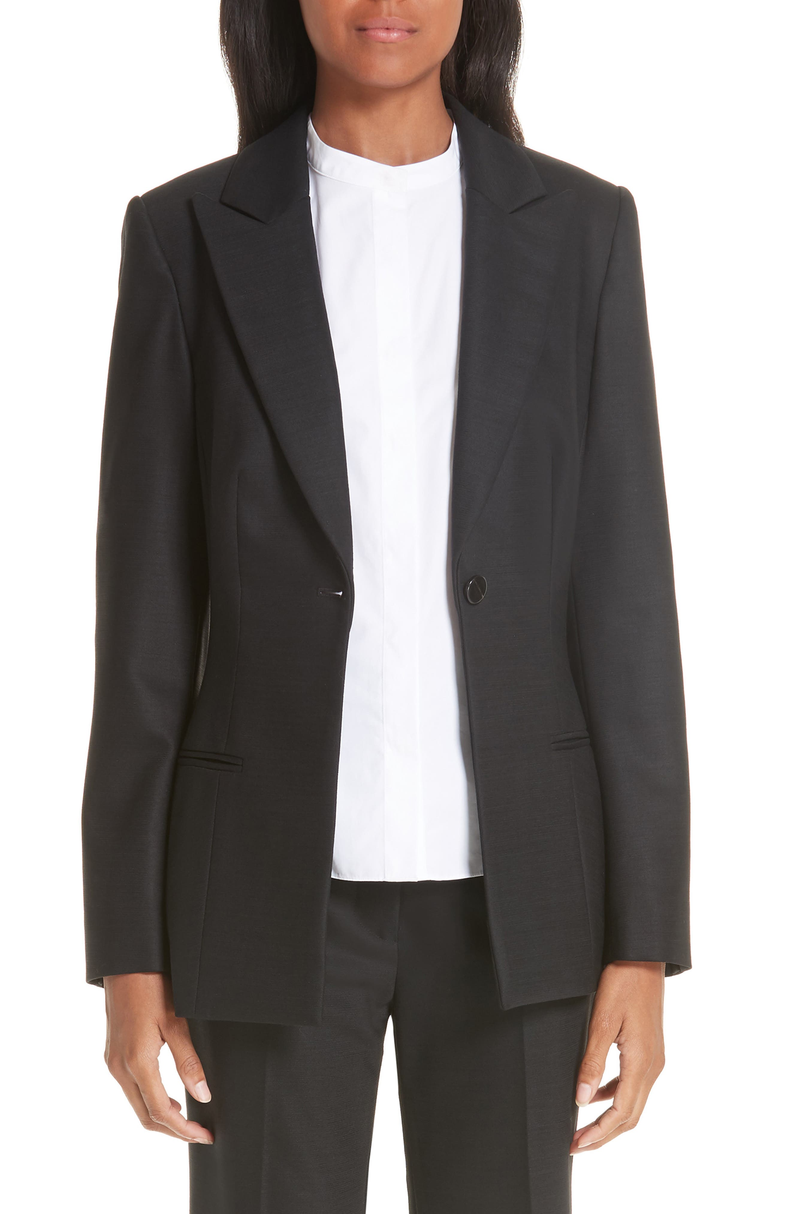One-Button Stretch Wool Gabardine Jacket, Main, color, BLACK