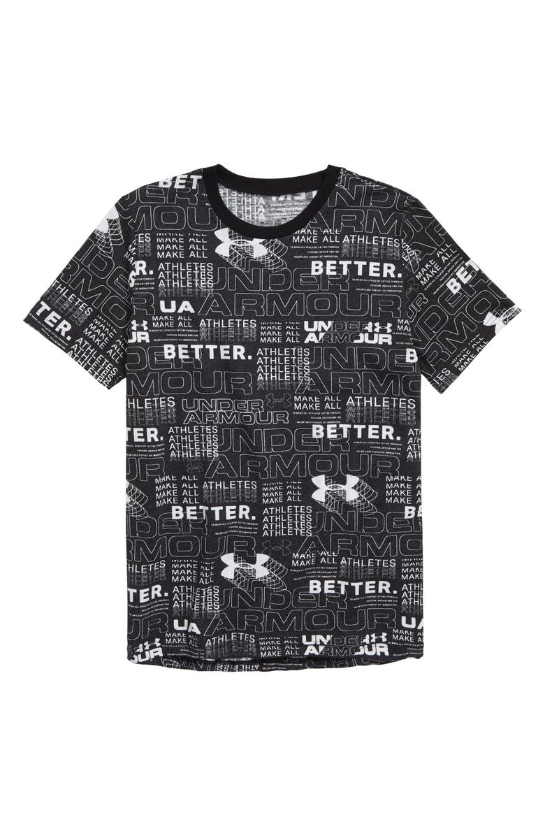 UNDER ARMOUR Perpetual HeatGear<sup>®</sup> Print T-Shirt, Main, color, BLACK/ WHITE