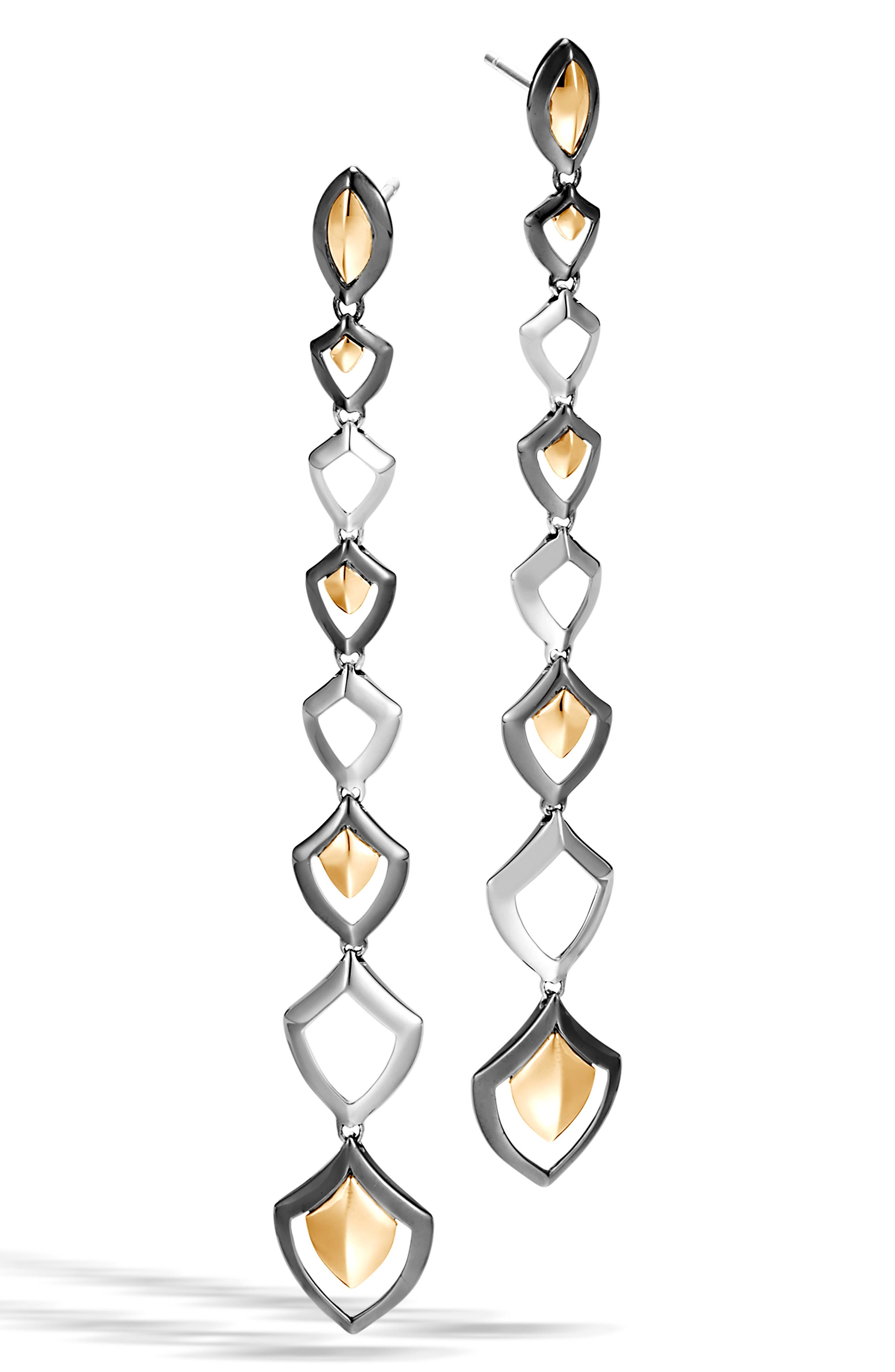 ,                             Legends Naga Linear Drop Earrings,                             Main thumbnail 1, color,                             SILVER/ GOLD