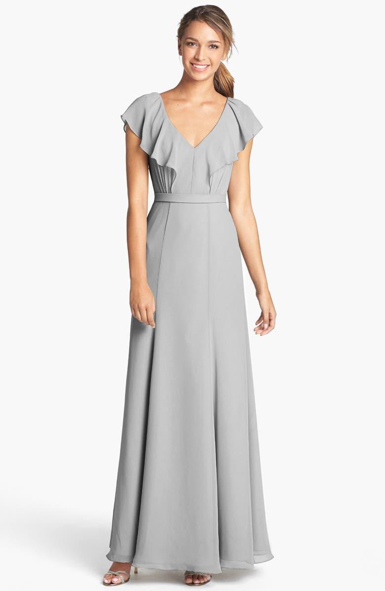JENNY YOO Cecilia Ruffled V-Neck Chiffon Long Dress, Main, color, 039