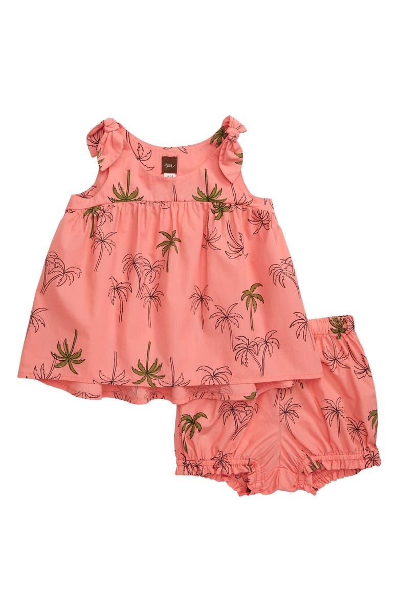 TEA COLLECTION High/Low Tie Shoulder Top & Shorts Set, Main, color, POP PALM TREES