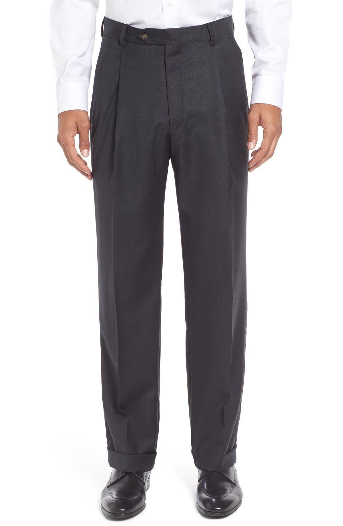 Super 130S Gabardine Pleated Trousers