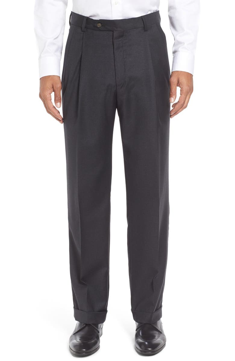 BERLE Pleated Solid Wool Trousers, Main, color, CHARCOAL