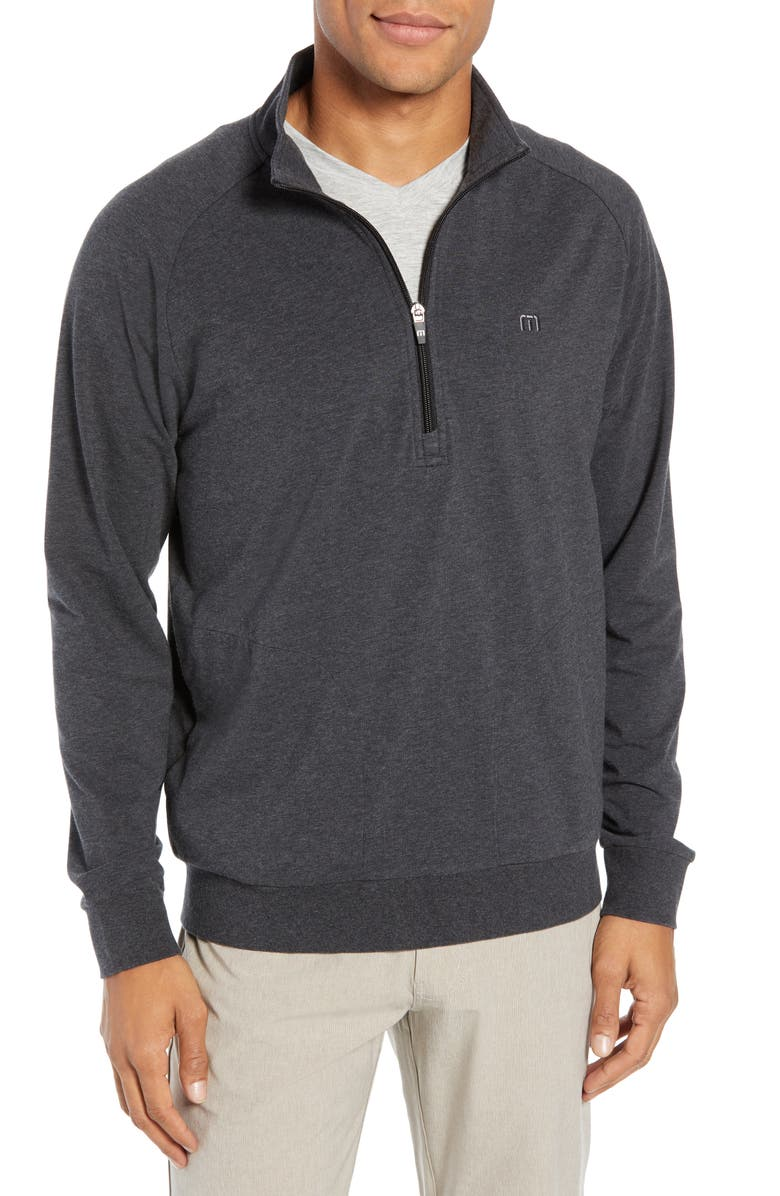 TRAVISMATHEW Zachary Half Zip Pullover, Main, color, HEATHER CHARCOAL