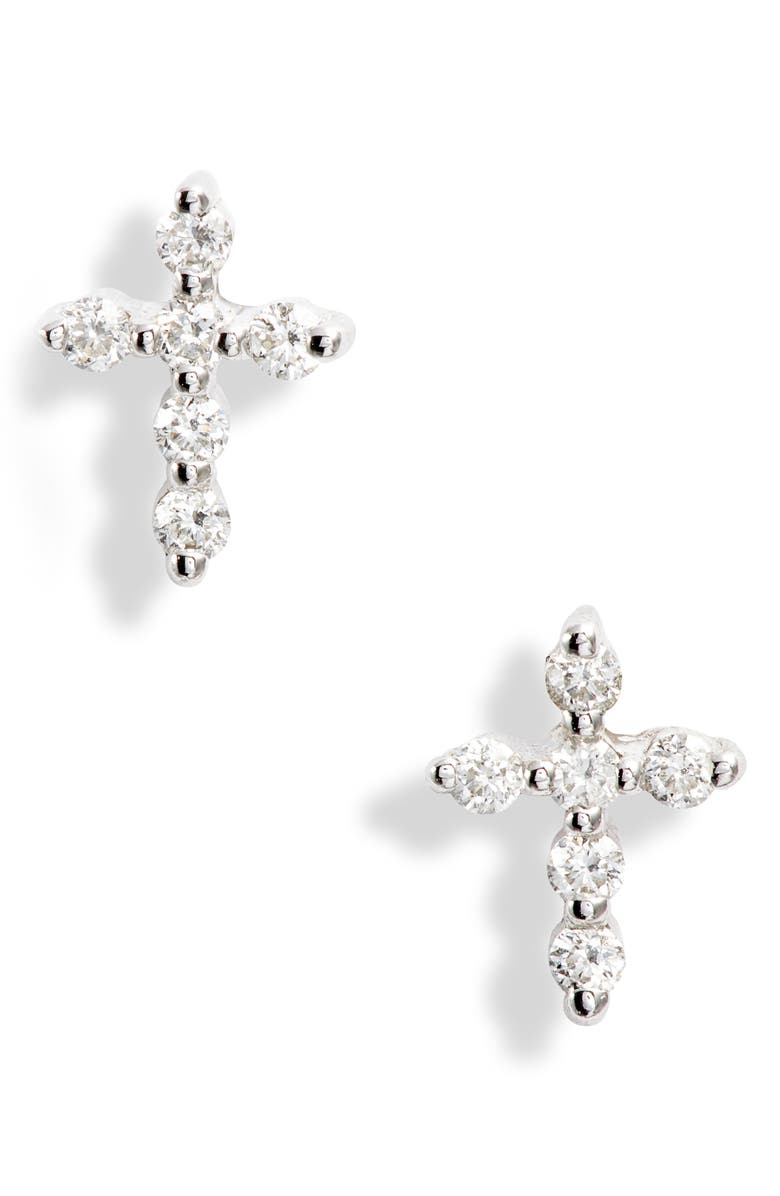 BONY LEVY Diamond Cross Stud Earrings, Main, color, WHITE GOLD/ DIAMOND
