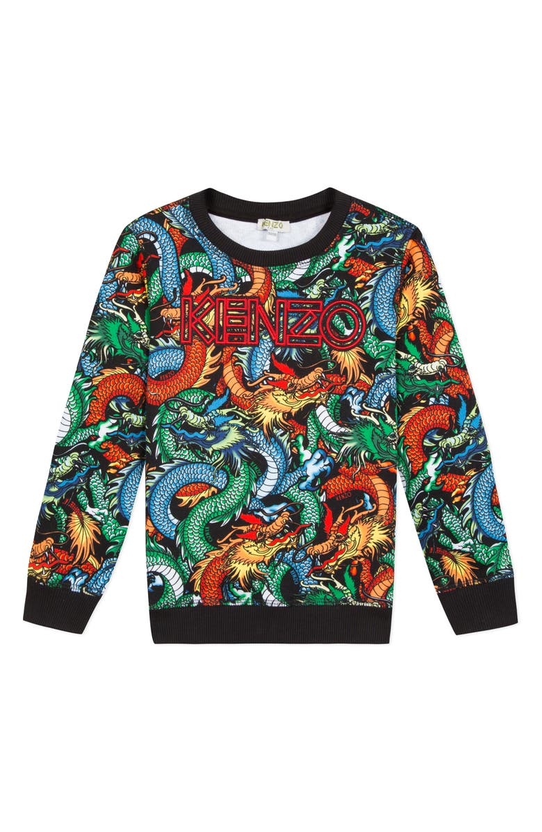 KENZO Logo Graphic Dragon Sweatshirt, Main, color, BLACK