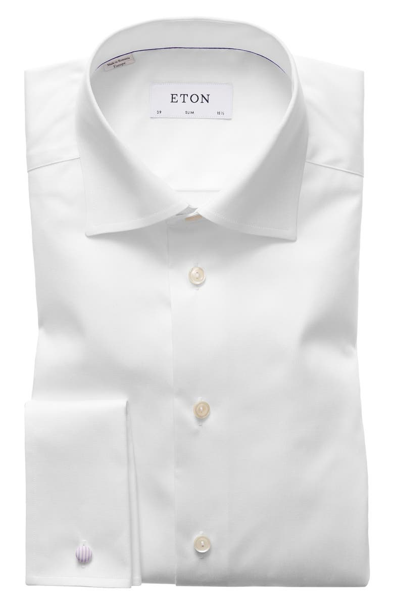 ETON Slim Fit Non-Iron Dress Shirt, Main, color, WHITE