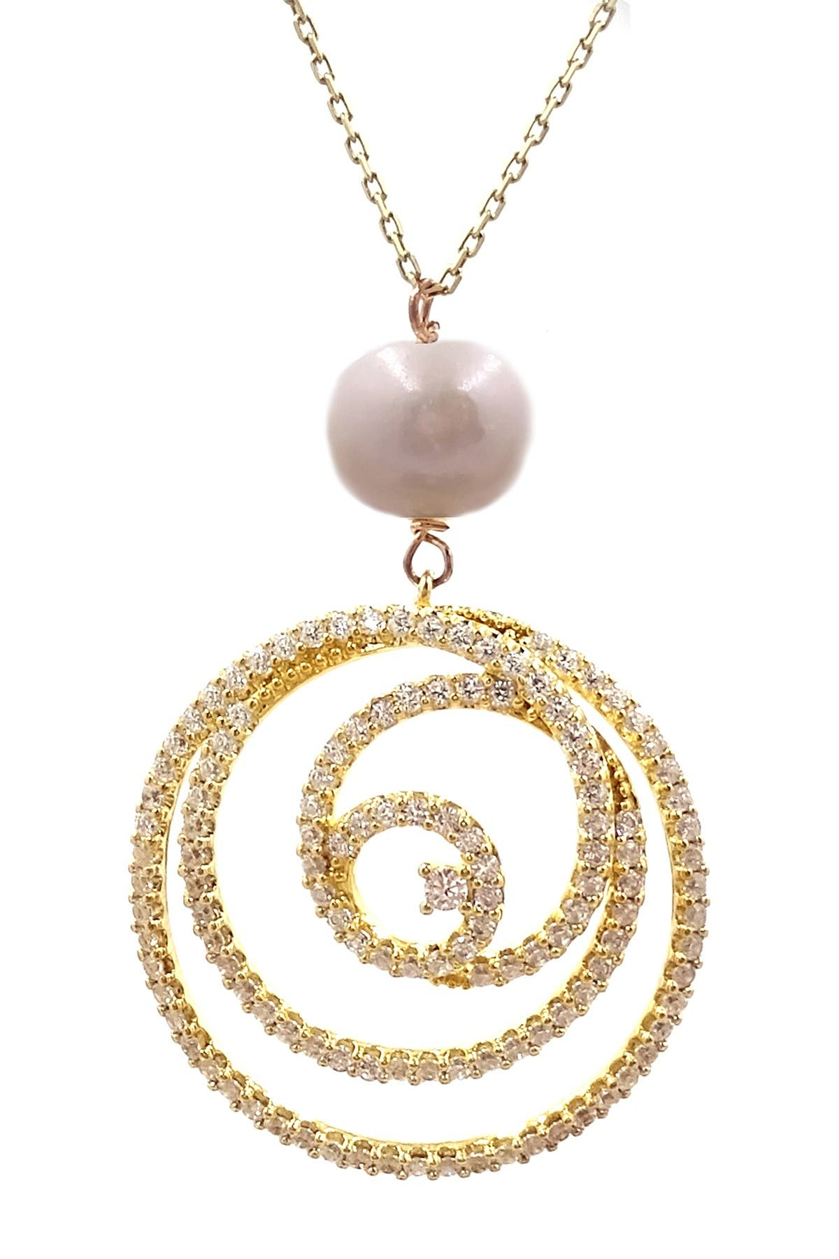Image of Savvy Cie 18K Yellow Gold Vermeil Pave CZ Swirl & 10mm Cultured Freshwater Pearl Pendant Necklace