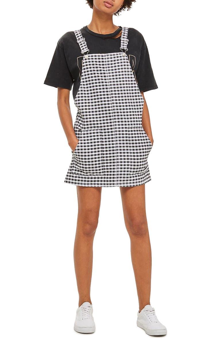 TOPSHOP Gingham Pinafore Dress, Main, color, 001