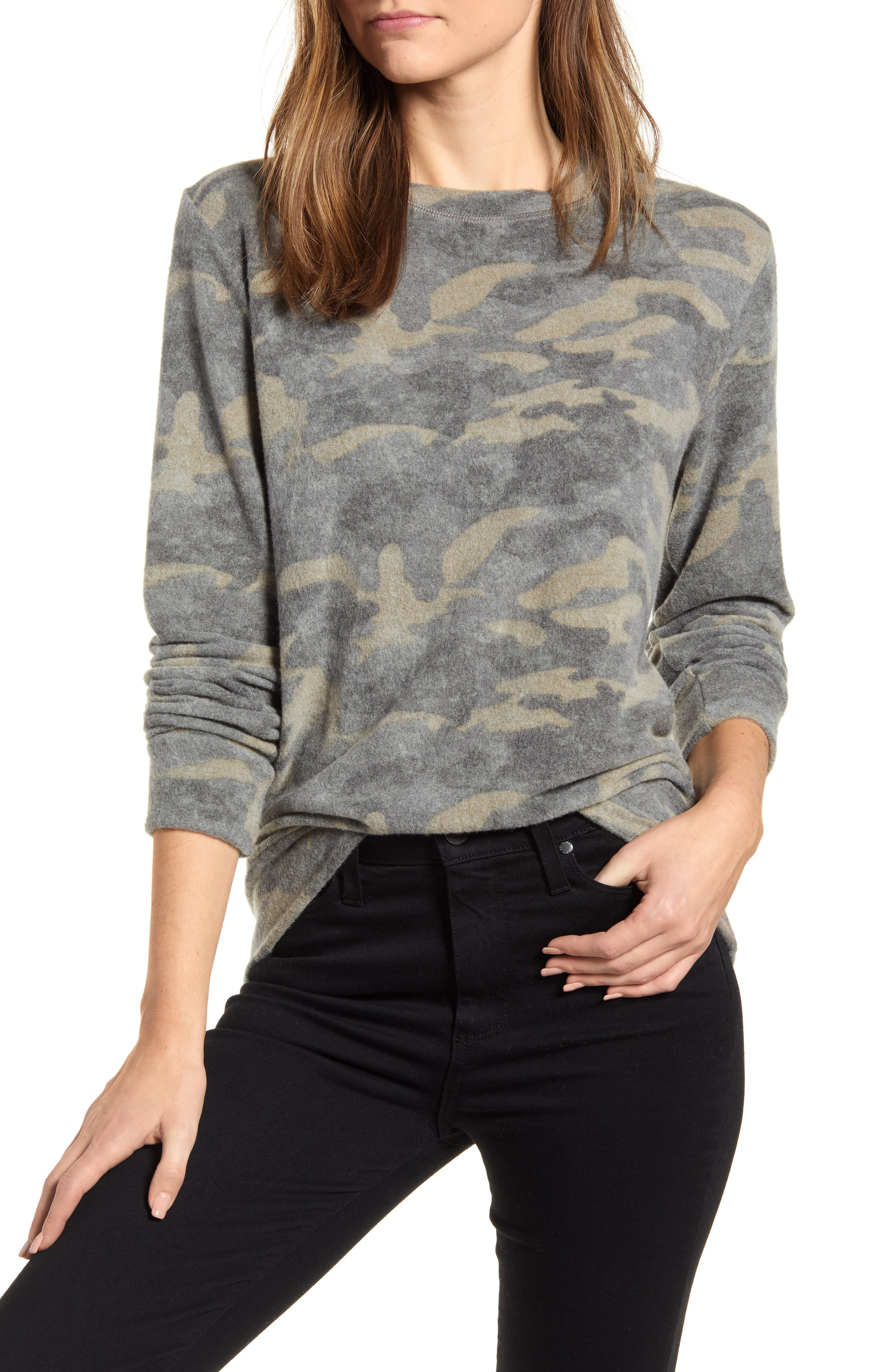 Women's Loveapella Camo Print Brushed Long Sleeve Top