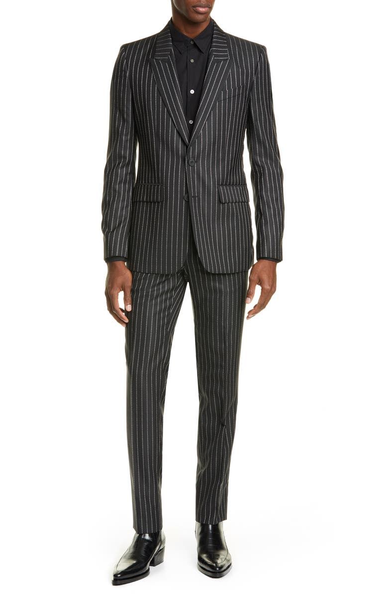 GIVENCHY Slim Fit Logo Stripe Suit, Main, color, BLACK/WHITE