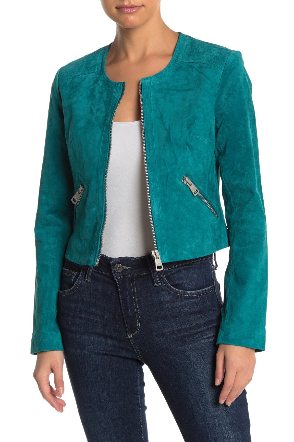Image of Bagatelle Collarless Suede Fitted Jacket