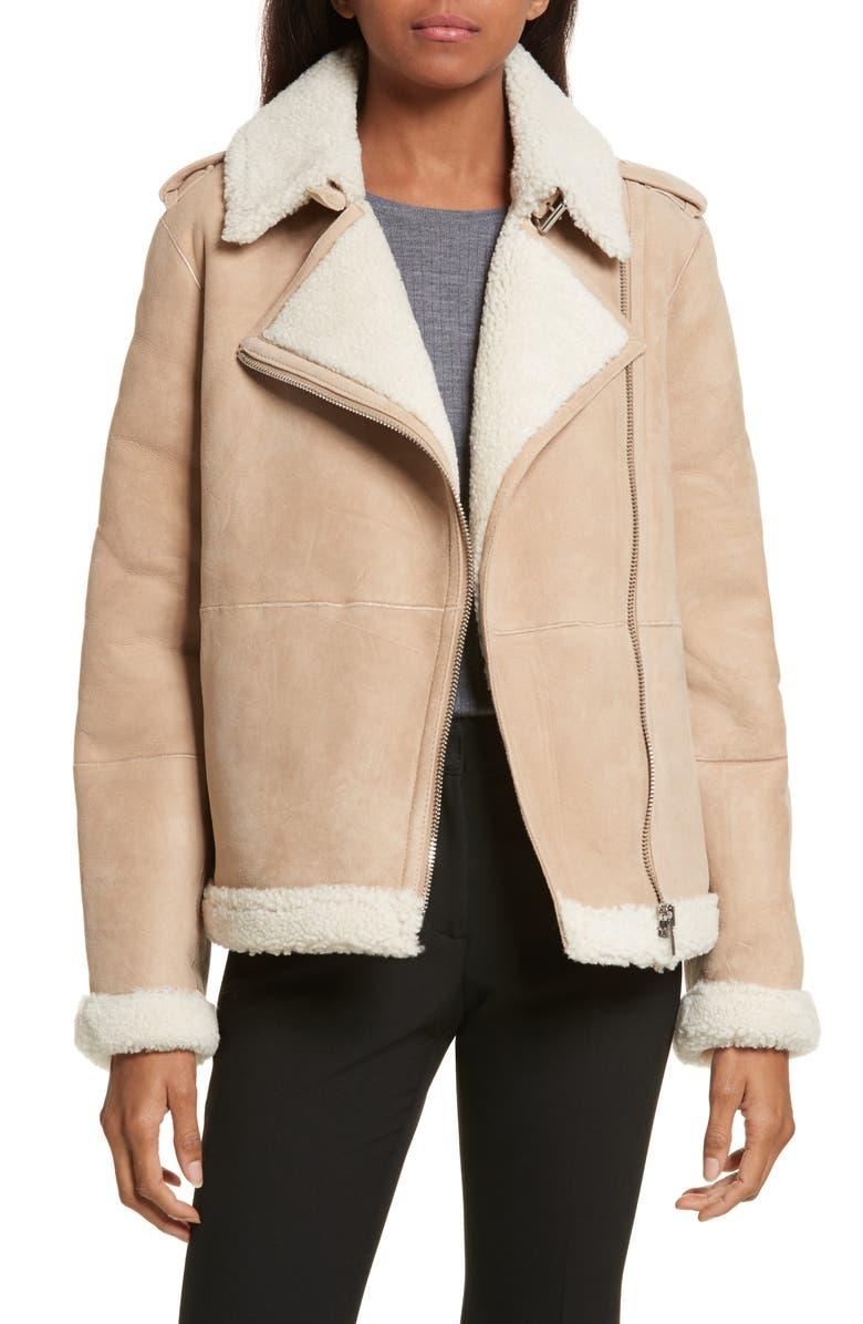 KATE SPADE NEW YORK genuine shearling jacket, Main, color, 201