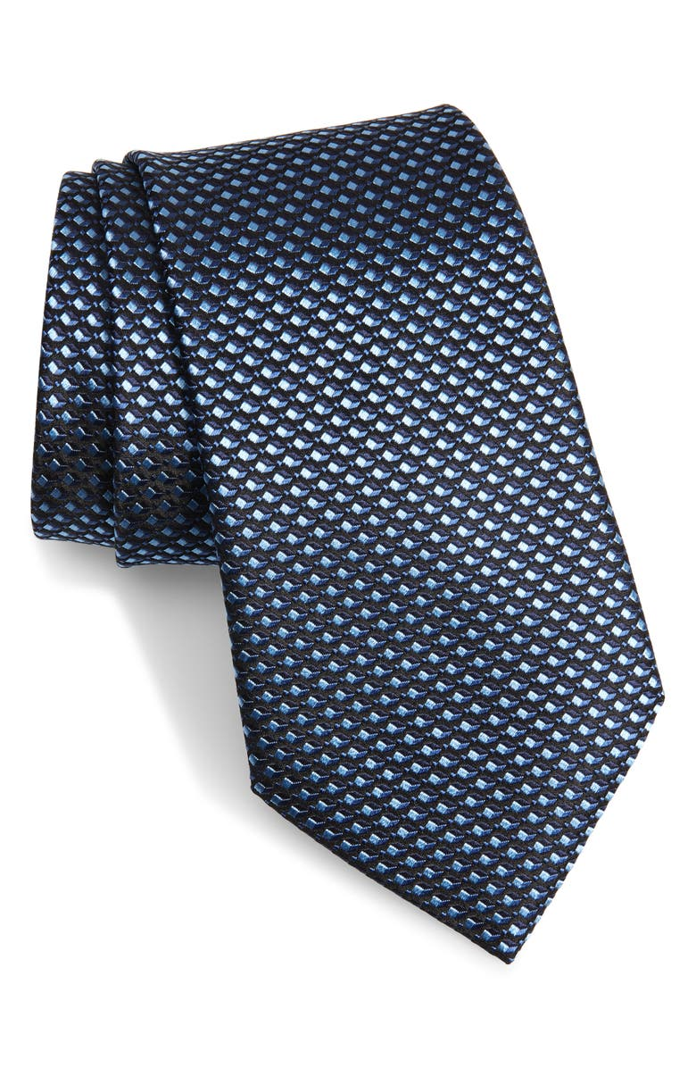 ERMENEGILDO ZEGNA Geometric Silk Tie, Main, color, NAVY MICRO FAN
