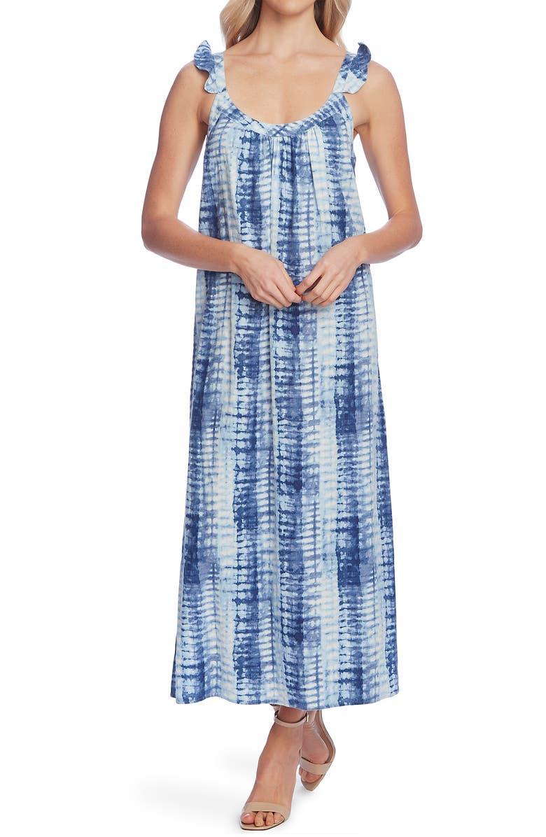 VINCE CAMUTO Ruffle Strap Maxi Dress, Main, color, BLUE CLOUD