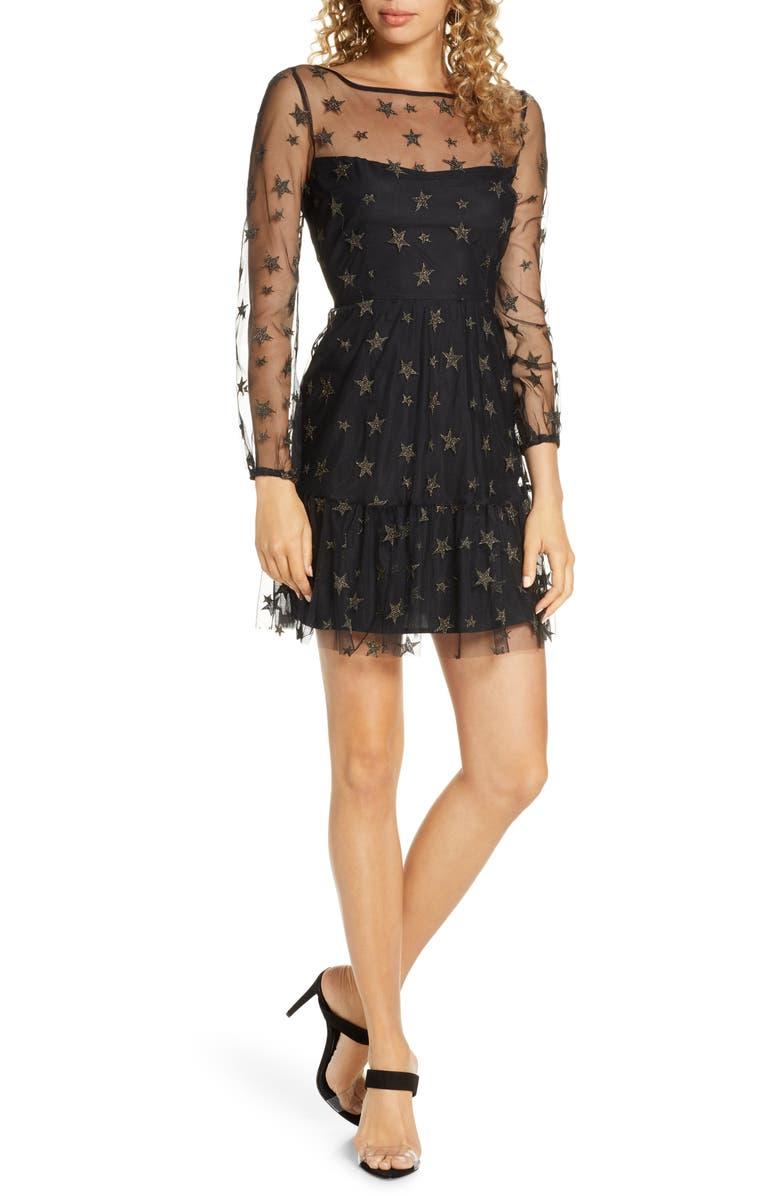 BB DAKOTA Star Status Metallic Embroidery Long Sleeve Fit & Flare Dress, Main, color, BLACK