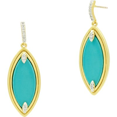 Freida Rothman Fleur Bloom Empire Turquoise Drop Earrings