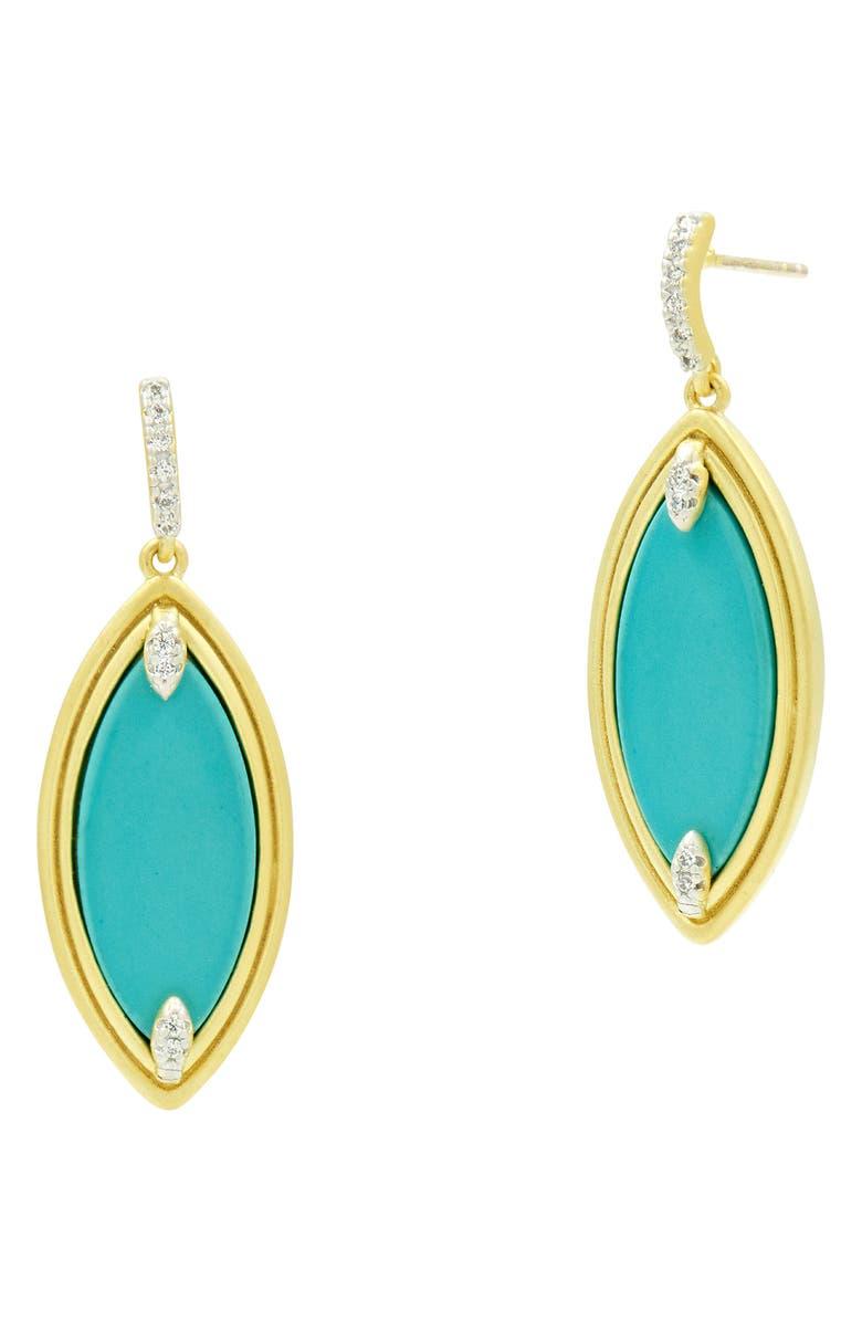 FREIDA ROTHMAN Fleur Bloom Empire Turquoise Drop Earrings, Main, color, 440