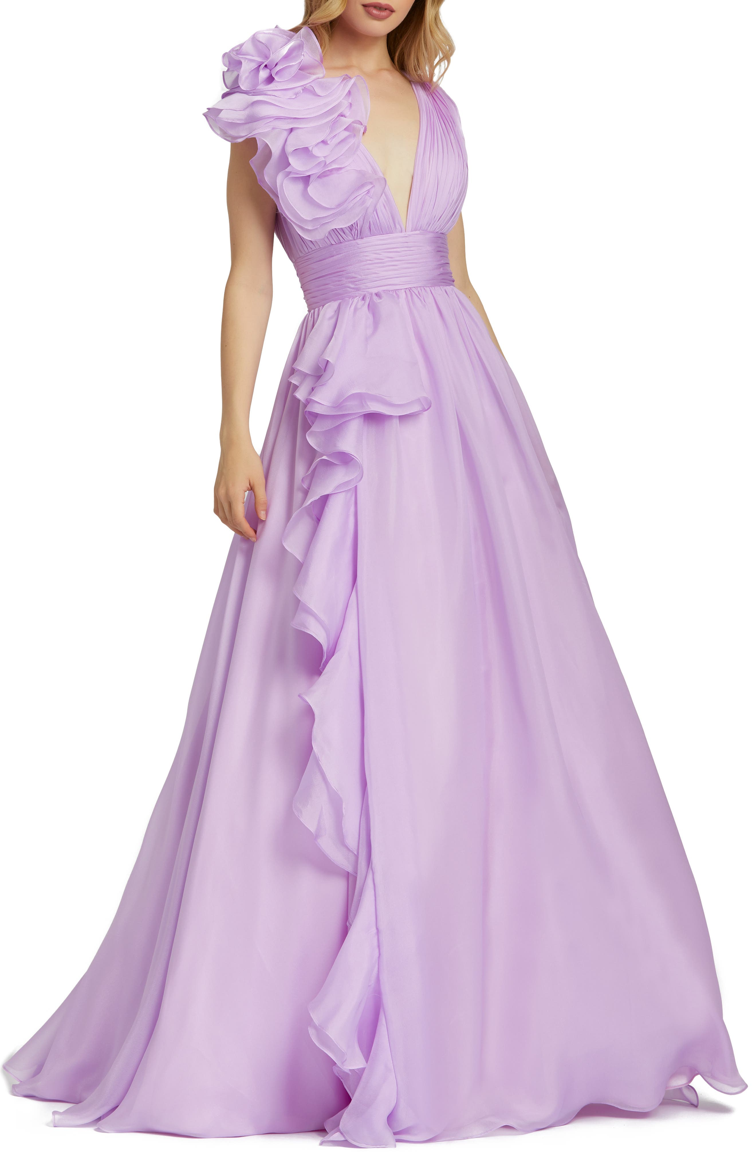 1980s Clothing, Fashion | 80s Style Clothes Womens MAC Duggal Ruffle Detail Ruched Chiffon Ballgown Size 4 - Purple $398.00 AT vintagedancer.com