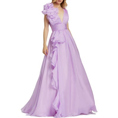 MAC Duggal Ruffle Detail Ruched Chiffon Ballgown, Purple