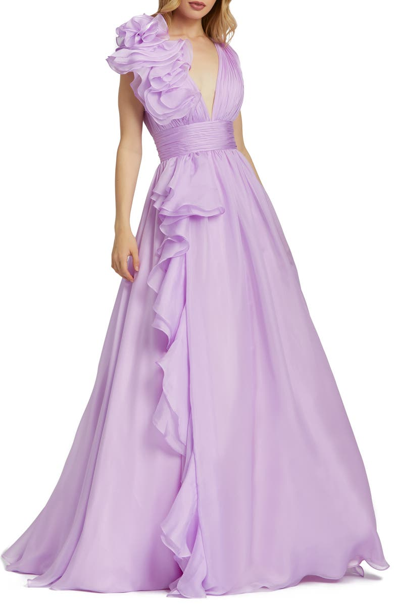 MAC DUGGAL Ruffle Detail Ruched Chiffon Ballgown, Main, color, ORCHID