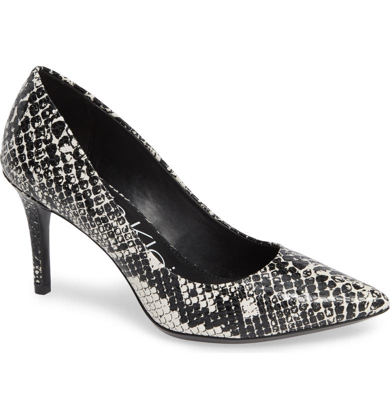 CALVIN KLEIN 'Gayle' Pointy Toe Pump, Main, color, BLACK/ WHITE SNAKE PRINT